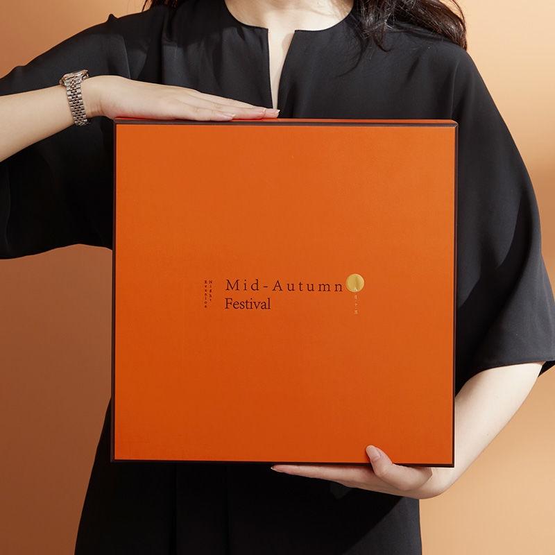 高檔新款中秋月餅包裝盒 愛馬仕方正月餅盒 定制禮盒空盒包裝