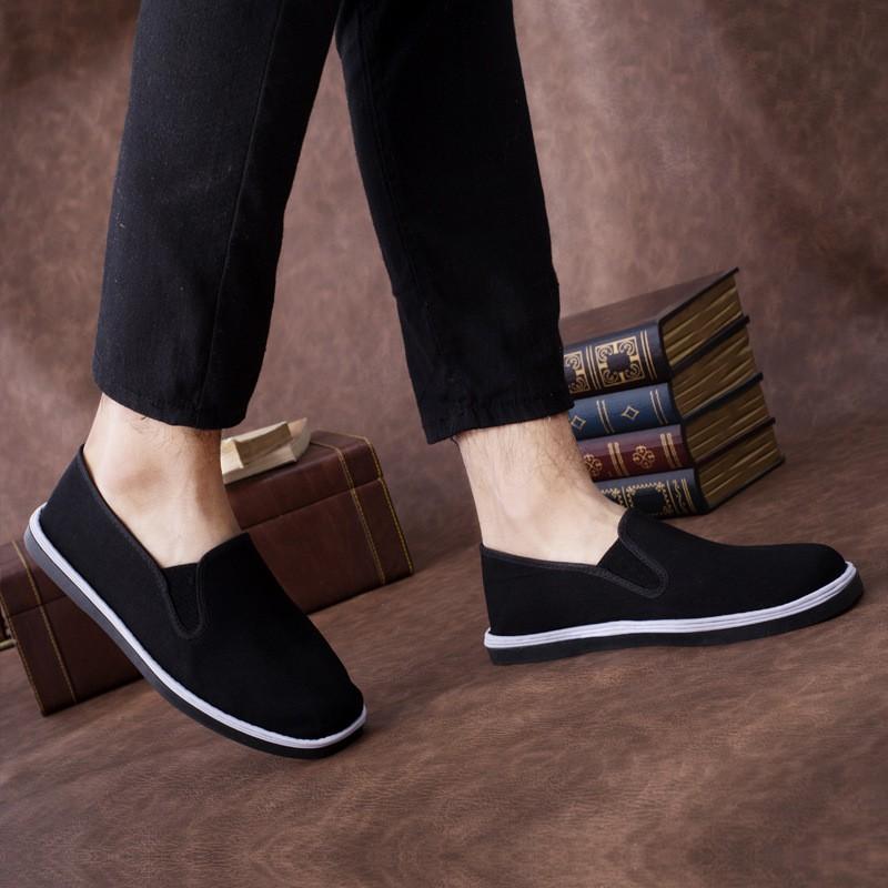 【skew】老北京布鞋男黑色工作鞋一腳蹬透氣布鞋防滑耐磨保暖休閑千層底鞋