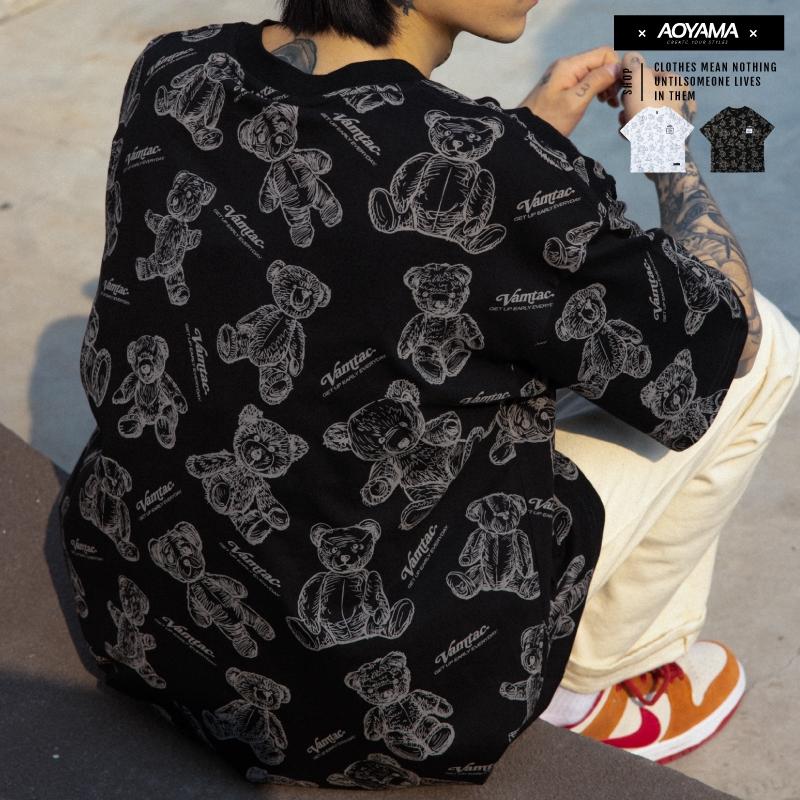 AOYAMA 歐美街潮滿版塗鴉小熊印花 落肩短T【VT592】寬鬆短袖 美式 小熊 青山 oversize 情侶