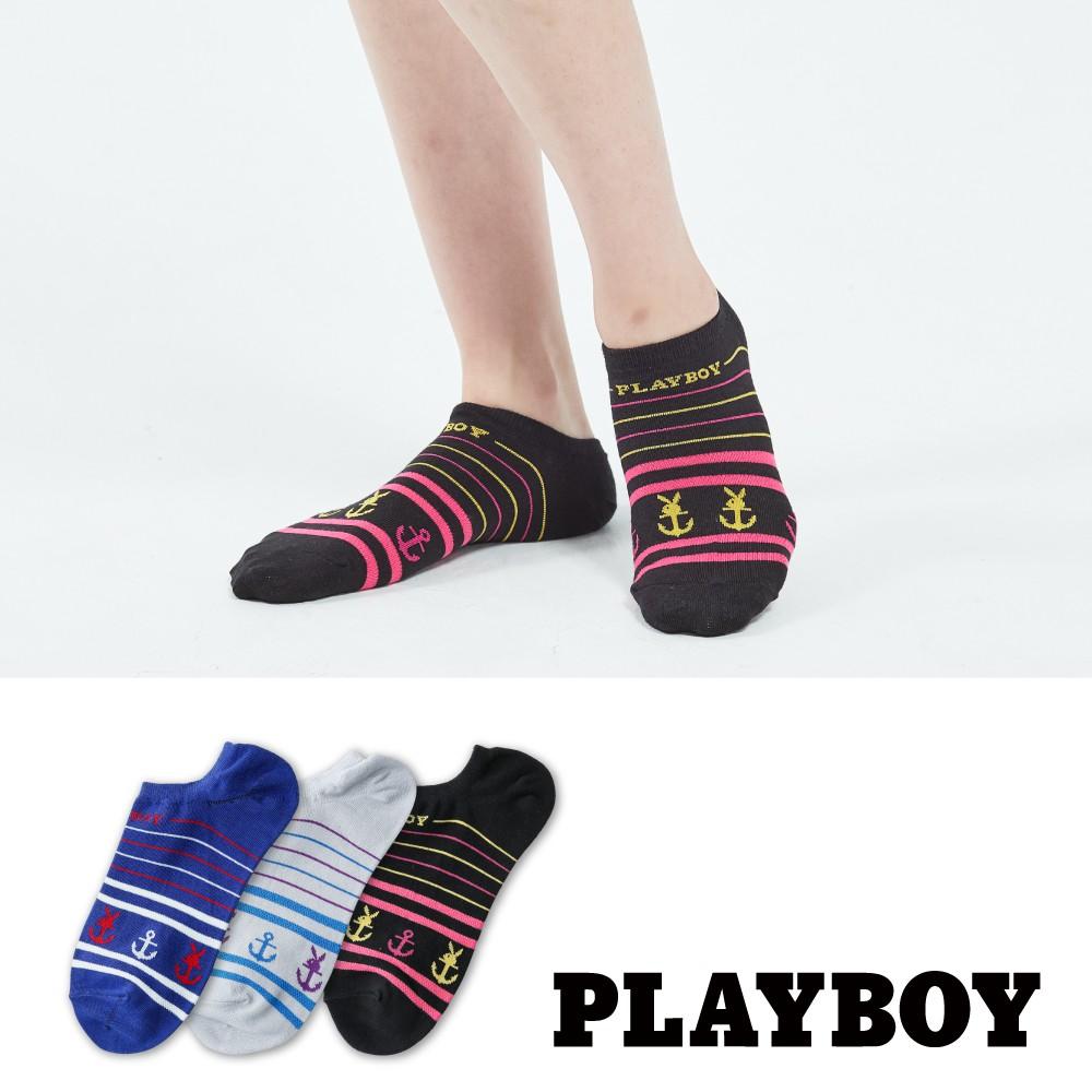 【PLAYBOY】海軍風條紋隱形襪│襪子│女襪│短襪│休閒襪│高含棉異味OUT