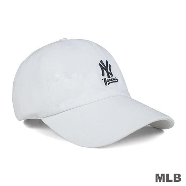 創信 韓妞必備 MLB 洋基隊 LOGO繡花 可調式老帽 百搭 運動 休閒 帽子 白色 5762004 800