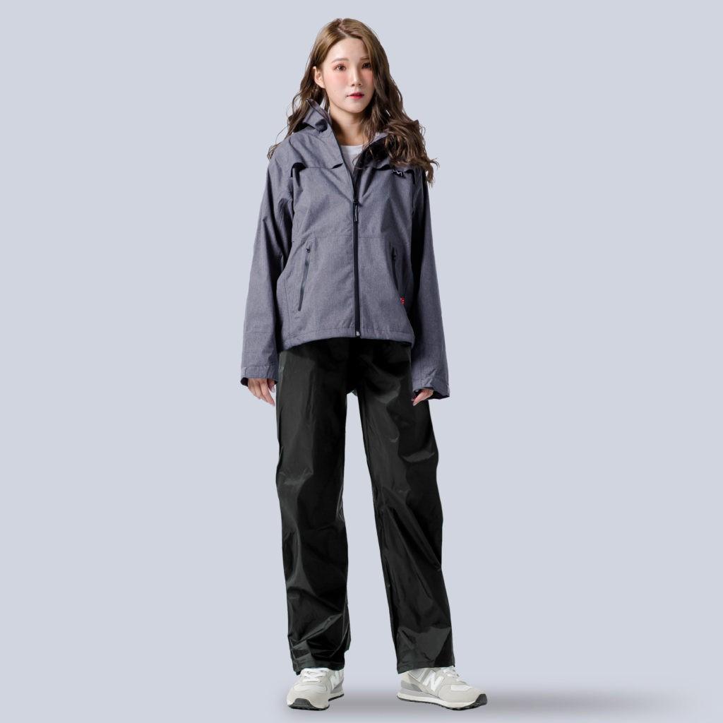 BrightDay 兩件式雨衣 背MAX外套兩件式雨衣(搭配黑色尼龍雨褲) 深灰 雨衣《淘帽屋》