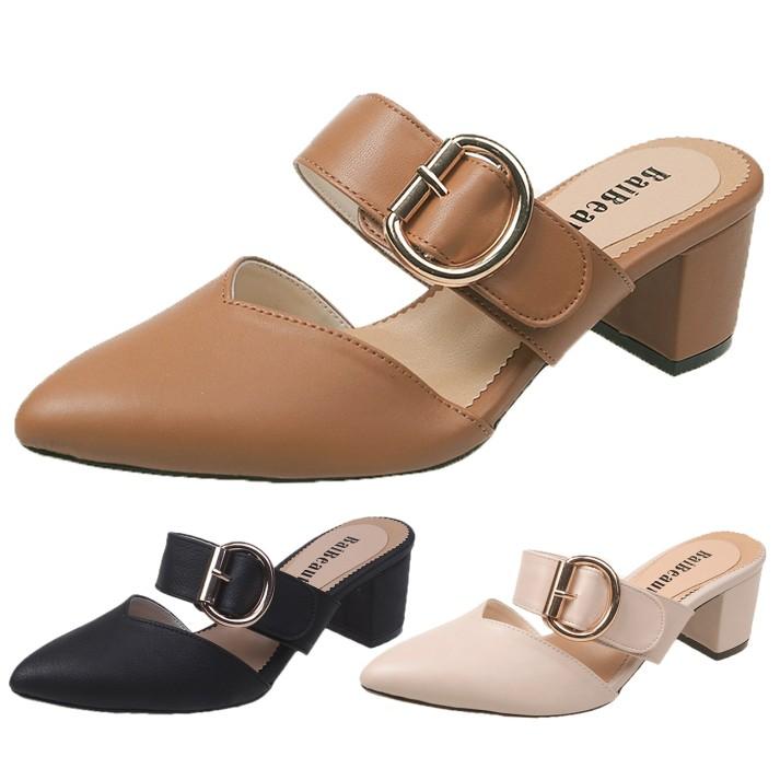 【白鳥麗子】穆勒鞋  訂製款  MIT優雅一字扣環尖頭V口高跟拖鞋