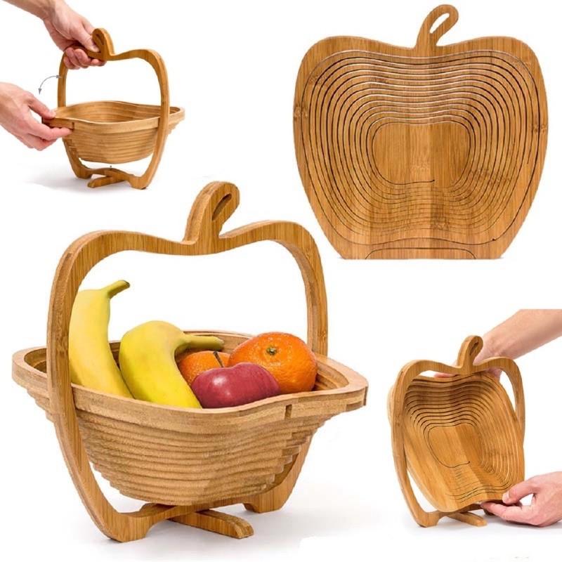 竹製折疊水果籃 時尚家居創意禮品水果籃 水果收納籃 工藝品籃