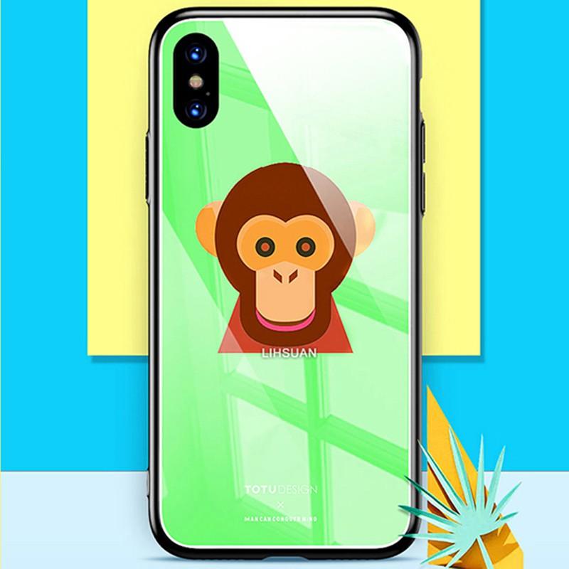 TOTU 拓途 iPhoneXS/X防摔殼 鋼化玻璃背板手機殼 可愛 猴子