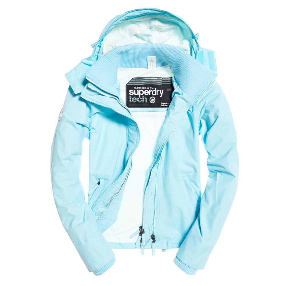 官網真品大出清!女款.SUPERDRY 極度乾燥 經典三層拉鍊 運動網格 連帽風衣外套.水藍/白字
