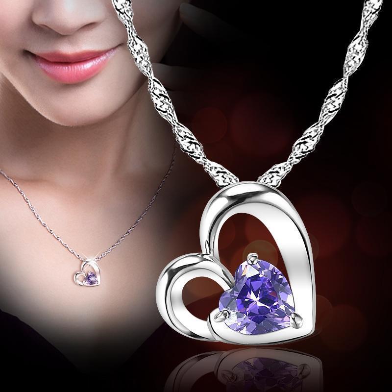 日韓時尚心形鑲鑽吊墜女 心戀吊墜小清新項鍊廠家地攤貨飾品