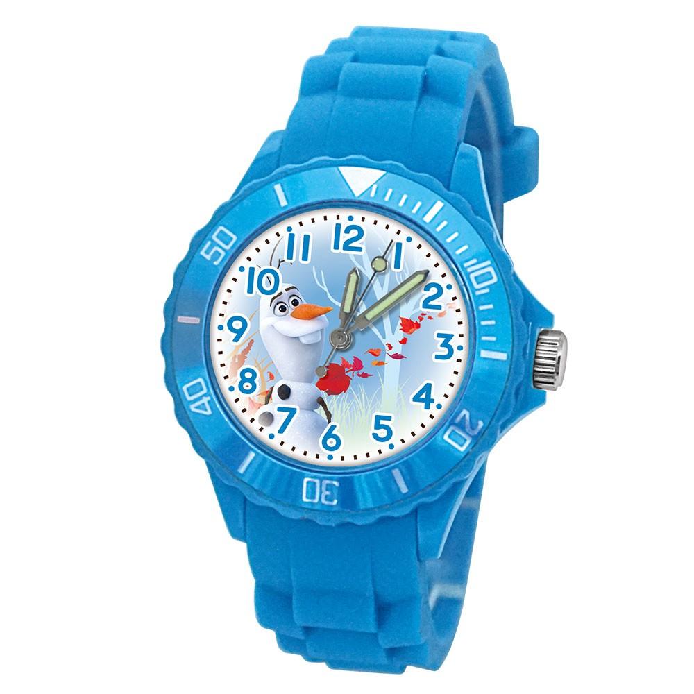 【Diseny迪士尼】逗趣雪寶 運動彩帶手錶(中型/藍)