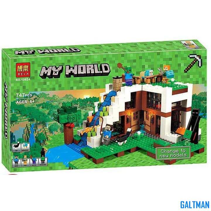 【我的世界系列】樂翼博樂10624 神秘的瀑布基地 麥塊兼容樂高21134益智互動拼裝拼插小顆粒積木