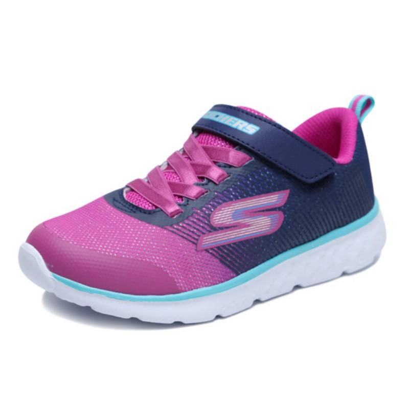 SKECHERS【81354NNVPK】GO RUN 400 小童鞋 慢跑鞋 桃紫深藍 黏帶 運動鞋