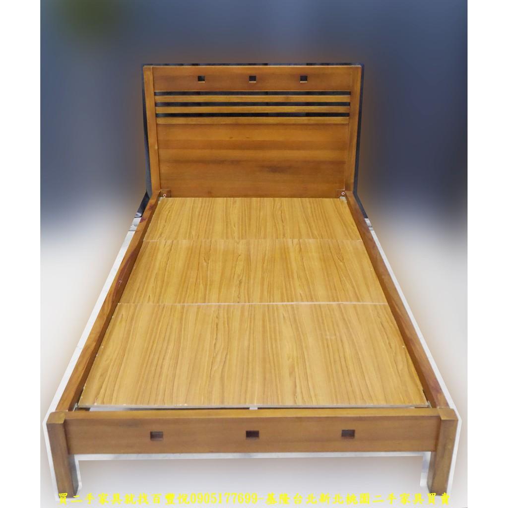【二手家具】台中百豐悅2手買賣-二手柚木實木3.5尺單人加大床架 單人床台床底床組 台中二手傢俱買賣彰化2手家電買賣