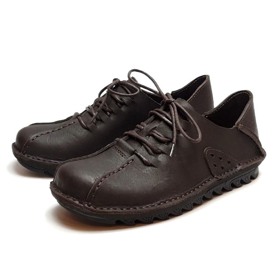 MIT真皮男鞋 休閒鞋 手工 寬楦 - 男繫帶後踩鞋-深咖
