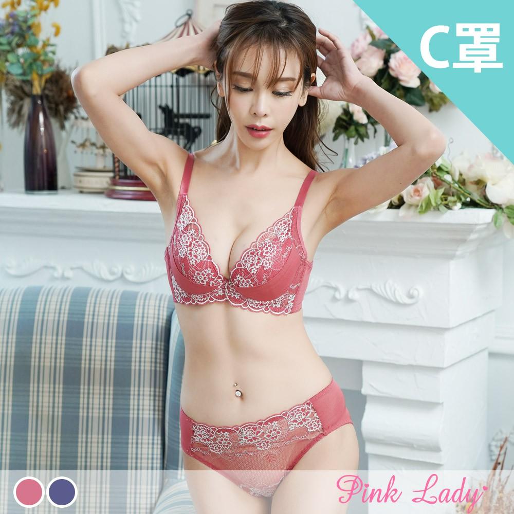 Pink Lady【C罩杯】耀眼舞姬 軟鋼圈微加厚拉提內衣 成套內衣6963(藍色、紅色)
