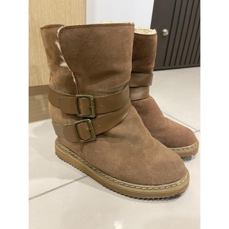 ALDO真皮增高雪筒靴❄️內刷毛毛呢雪靴保暖雪靴24cm