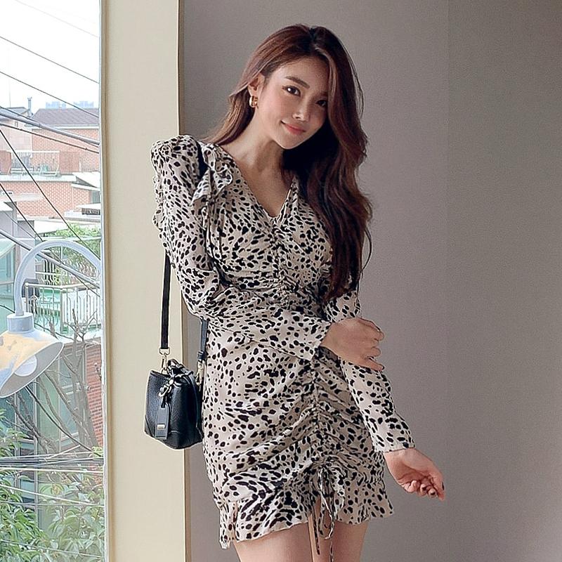 豹纹雪紡洋裝長袖連身裙長袖V領抽繩縮皺尺碼合身連衣裙