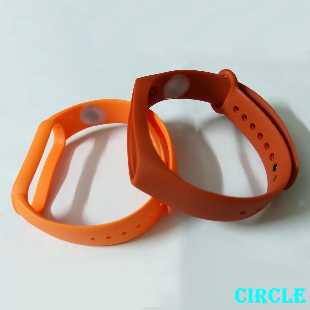 悠遊卡錶帶 適用小米手環6/5/4/3紅色橙色內置成人空卡晶片滴膠封裝硅膠替換腕帶 智能手錶帶Circle