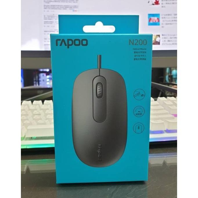 YHPC☆淡水◎ 全新Rapoo 雷柏 N200 有線光學滑鼠-黑 1600dpi + 大型全區 電競鼠墊 ☆350元
