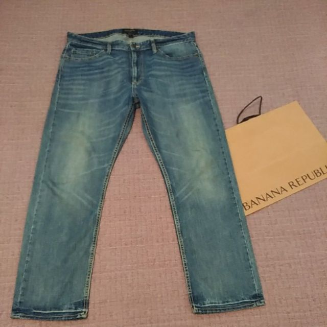 美國Banana Republic 型男 水洗 仿舊 刷白 直筒 牛仔褲 丹寧牛仔褲 36