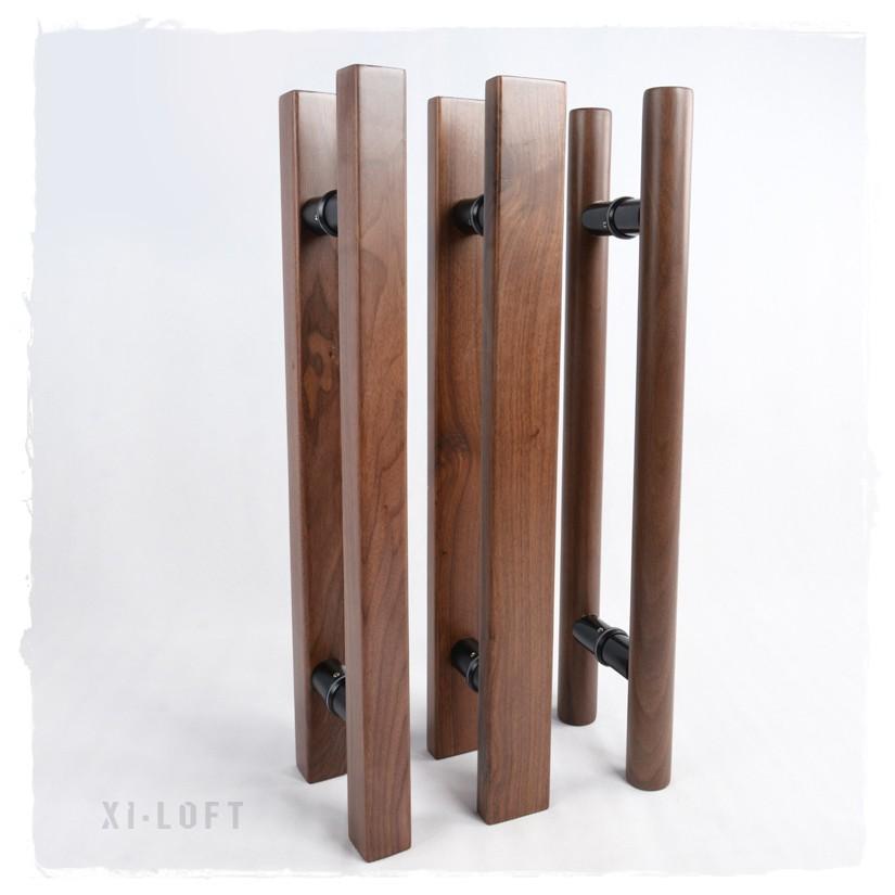 玻璃門門把 黑胡桃木 實木大門門把 把手 對裝把手 北歐/輕工業風百搭木門鐵門 設計師最愛 DIY長門把