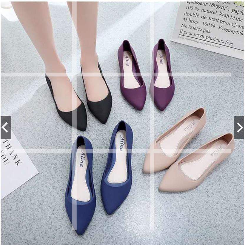 ALINA Lq 女士坡跟鞋阿爾娜果凍卡塞高跟鞋尖頭鞋休閒鞋