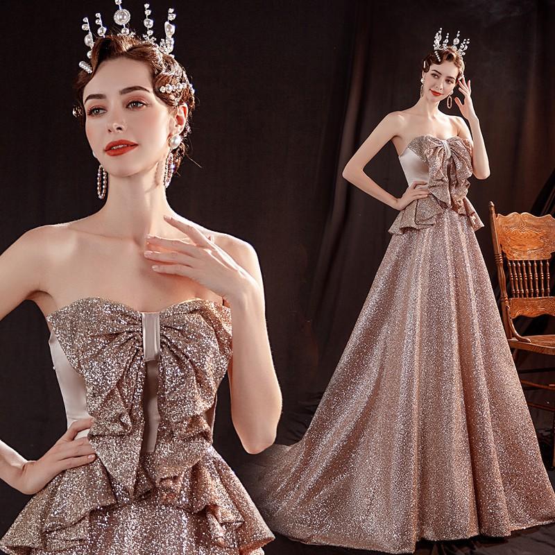 耀眼金色新娘結婚敬酒服宴會年會婚紗晚禮服批發17006