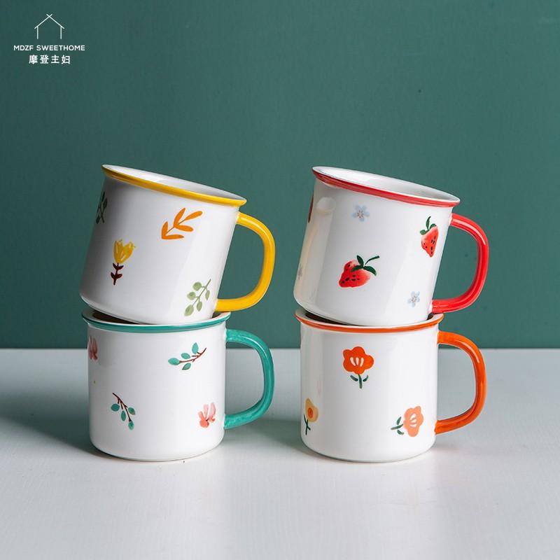 摩登主婦 ins風創意馬克杯 陶瓷咖啡杯 花卉杯子情侶水杯 早餐杯
