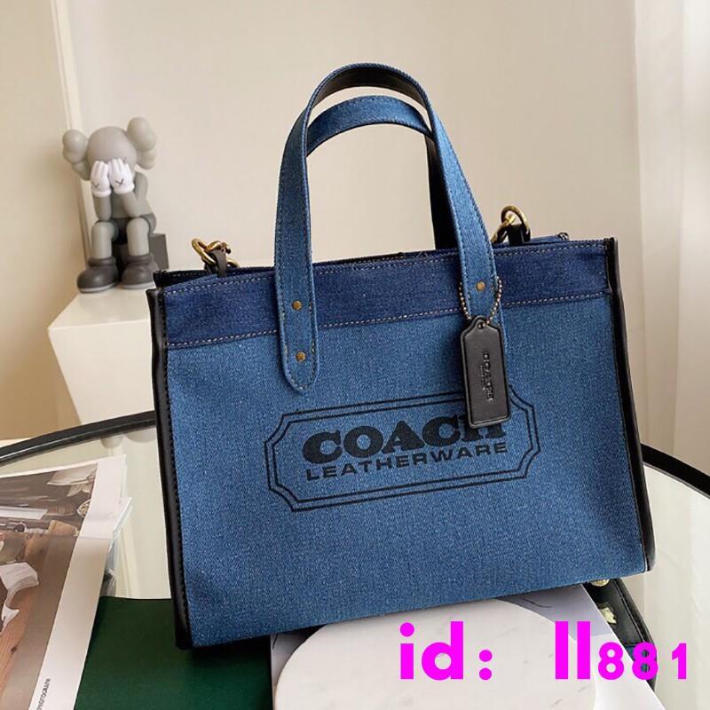 *美國  COACH F89163 專櫃新款女生帆布包 手提包 單肩包 托特包 時尚牛仔藍配色 女包 附購證