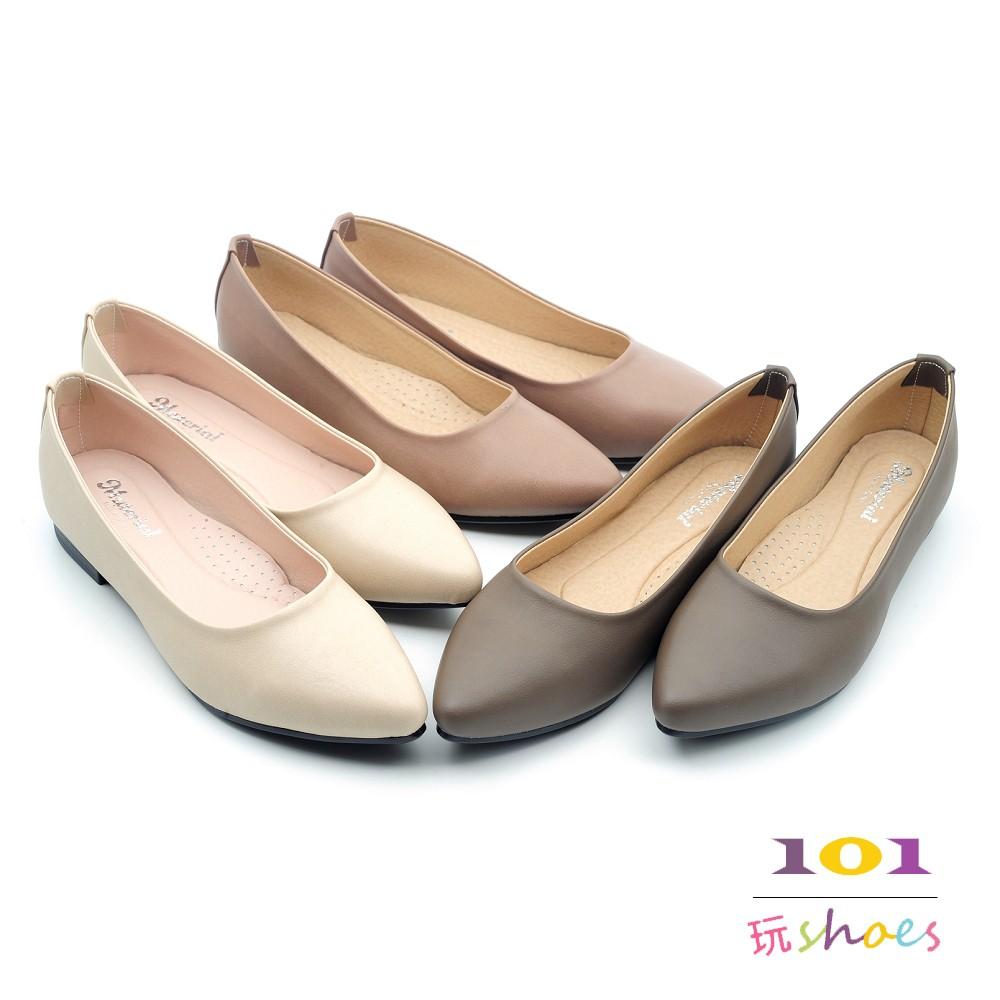【101玩shoes】MIT 簡潔舒適低跟女鞋包鞋OL必備款 米色/可可色/墨綠色 36-40