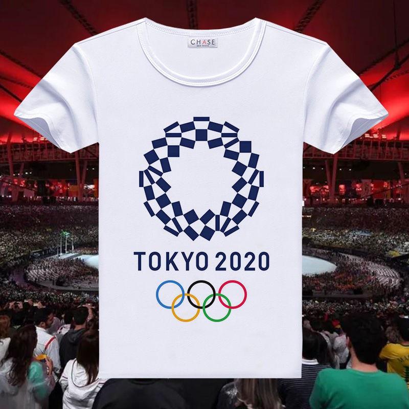 ✆❧☂東京奧運 東京奧運紀念品 2021東京奧運會T恤男女學生五環標志吉祥物衣服團隊定制文化衫潮 東京奧運會