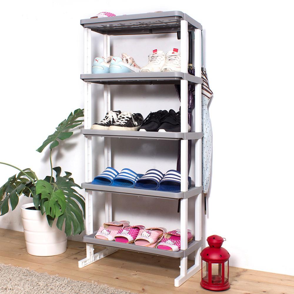 [現貨免運] HOUSE 點點組合式置鞋架(可掛傘)五層 三色可選 E&J【005135】