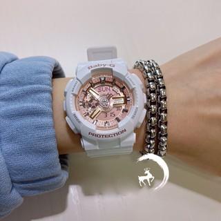 限定 CASIO 卡西歐手錶 G-SHOCK BA-110 白金 粉金 女士手錶 運動潛水錶 附保卡