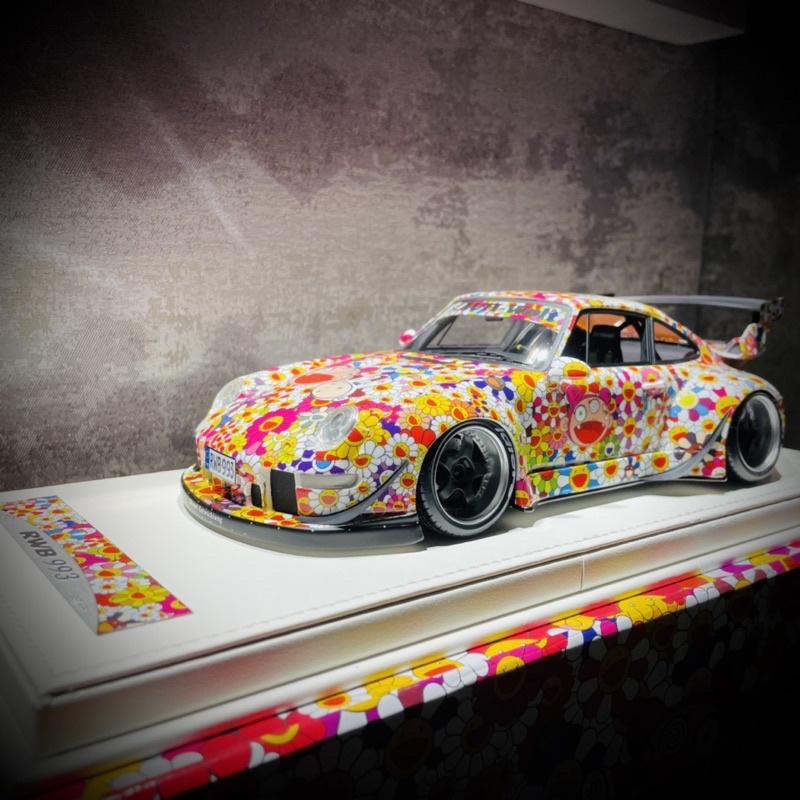 《現貨可面交》VIP Model RWB 1/18 Porsche 993 太陽花 村上隆塗裝 (樹酯車)