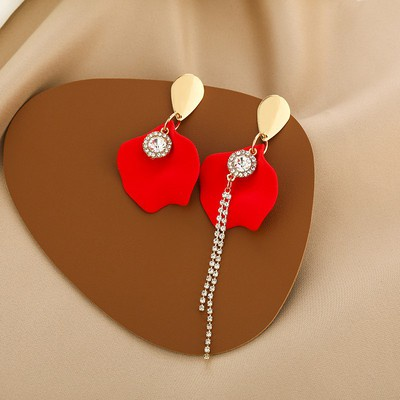 耳環 飾品 耳飾 82093  925銀針不對稱紅色花瓣耳環氣質水鉆流蘇耳墜網紅潮GB507 衣時尚
