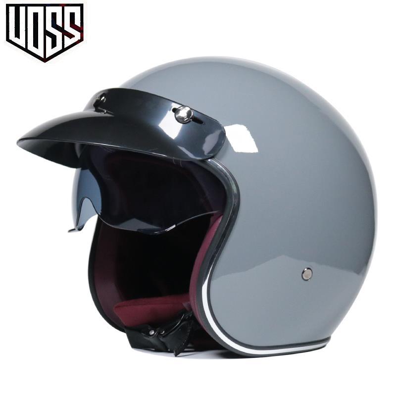 ✿騎行頭盔|安全帽✿VOSS復古哈雷頭盔男女半盔踏板頭盔半覆式安全帽3/4盔個性酷