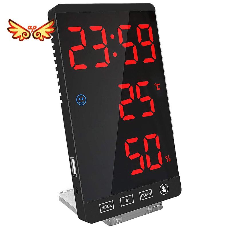 數字鬧鐘,帶溫度檢測功能的大型LED顯示屏電子鐘,現代鏡台壁鐘