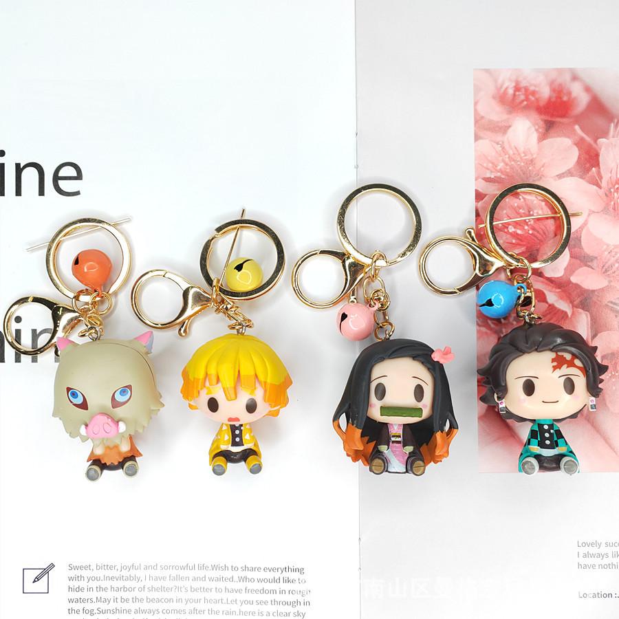 創意動漫4款鬼滅之刃3D卡通公仔鈴鐺鑰匙扣掛件立體鑰匙鏈 GK模型玩偶