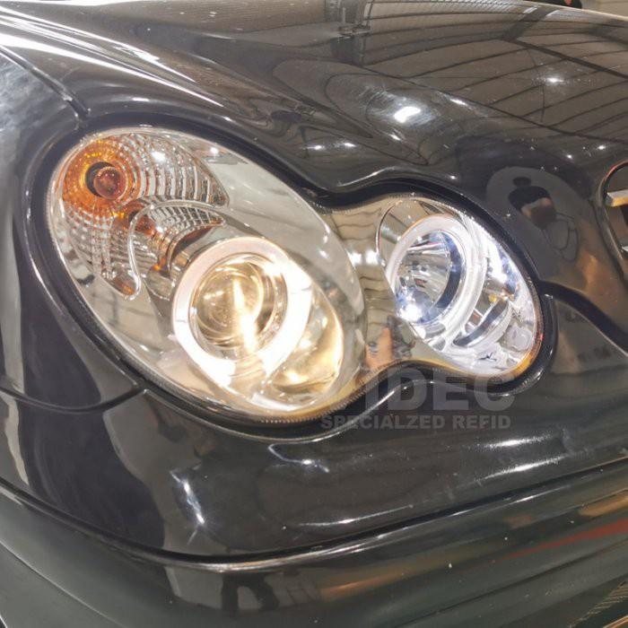 威德汽車 賓士 BENZ 00~07 W203 C230K C200K 銀底 黑框雙光圈 魚眼大燈 W203 大燈 總成