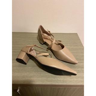 全新大尺碼女高跟鞋 43碼/ 26.5公分 杏色尖頭粗跟鞋 新北市