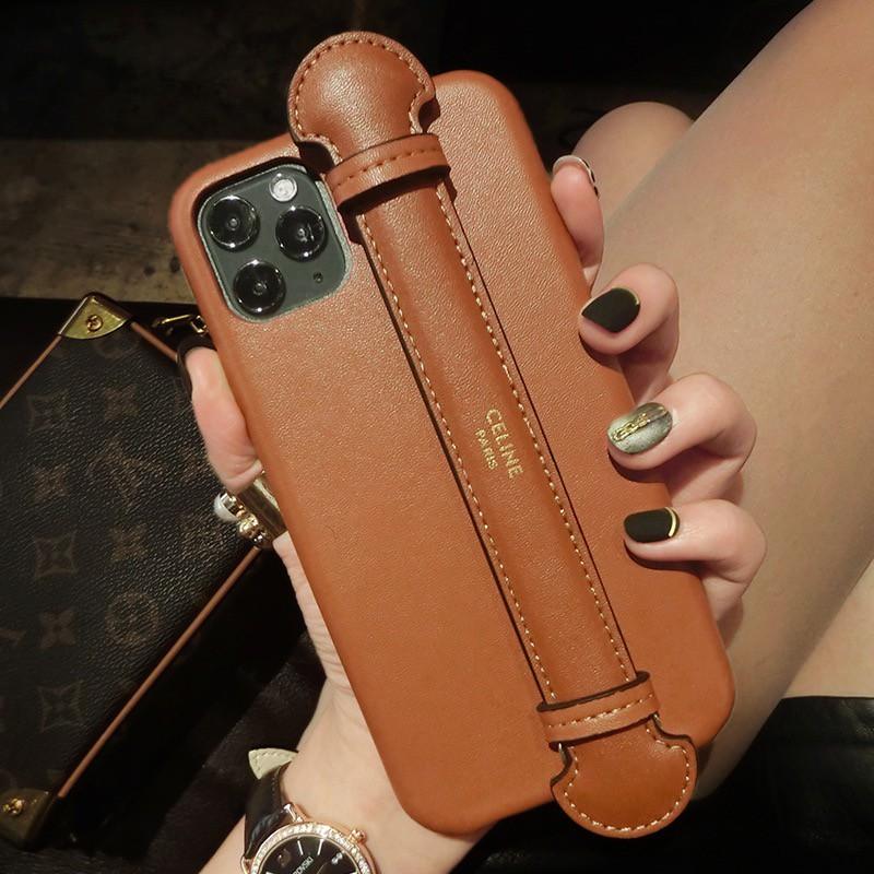 百樂 歐美皮質CELINE手機殼 皮革 蘋果 iPhone12 11 XR XSmax 8 7PSE2 掛繩腕帶手機殼
