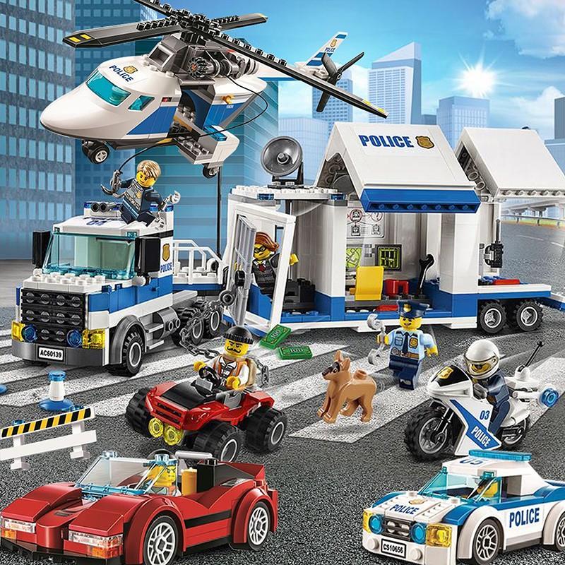 樂高積木城市系列警察局男孩子警系局飛機消防車汽車拼裝益智玩具