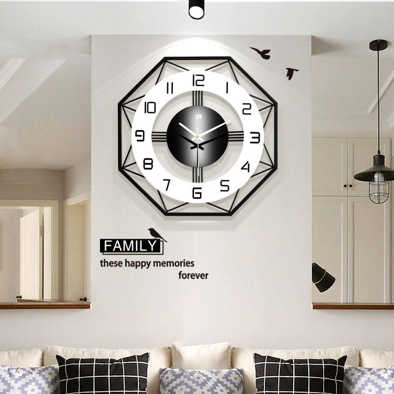 免運節鐘表掛鐘客廳創意現代簡約北歐免打孔時鐘家用石英鐘大氣靜音表