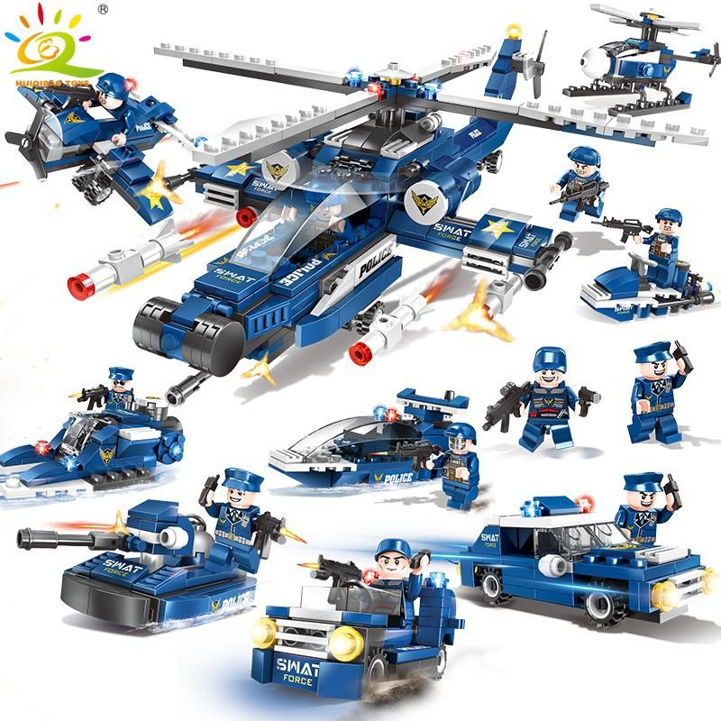 【Liao】益智樂高積木DL-C005兼容樂高男孩子兒童拼裝城市警察局系列玩具12歲消防車特警-8合1警察設備武器裝備