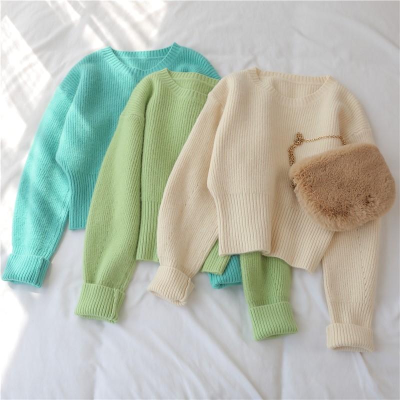 現貨 短款 毛衣女 新款 套頭 秋冬 韓版 寬鬆 外穿 打底加厚 慵懶風 上衣