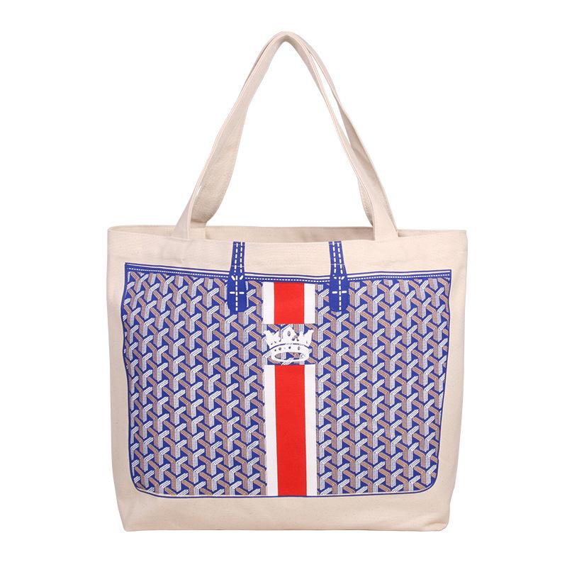 條紋帆布袋棉質帆布袋手提袋印花折疊超市購物袋 手提包