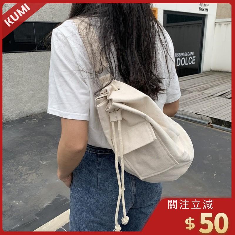 KUMI現貨 帆布袋 手提 帆布包 斜挎 肩背 水桶包 翻蓋口袋 休閒 學生 韓版ins 高cp值 潮可