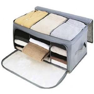 Baginshop衣物收納盒 内衣襪子收納盒 可折疊無紡布竹炭可視上側雙開收納箱 韓版居家儲物箱