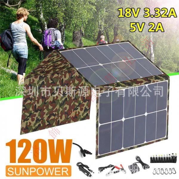 【現貨免運】sunpower120W太陽能板折疊包戶外露營汽車戶外包快速充電移動電源