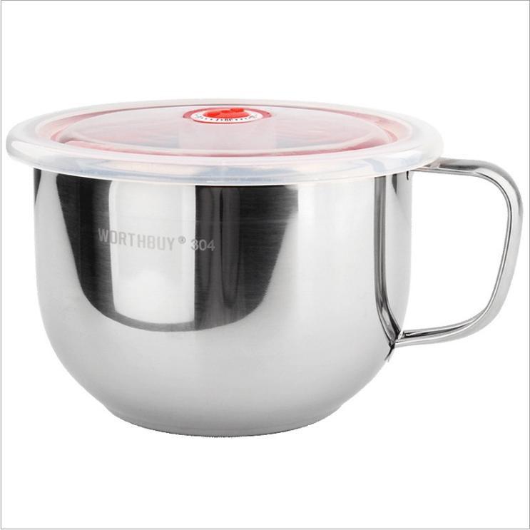 304不鏽鋼泡麵碗【AP0808】帶蓋 飯碗日式湯碗 大號DIGITAL INTERNATIONAL ELE(1126喬