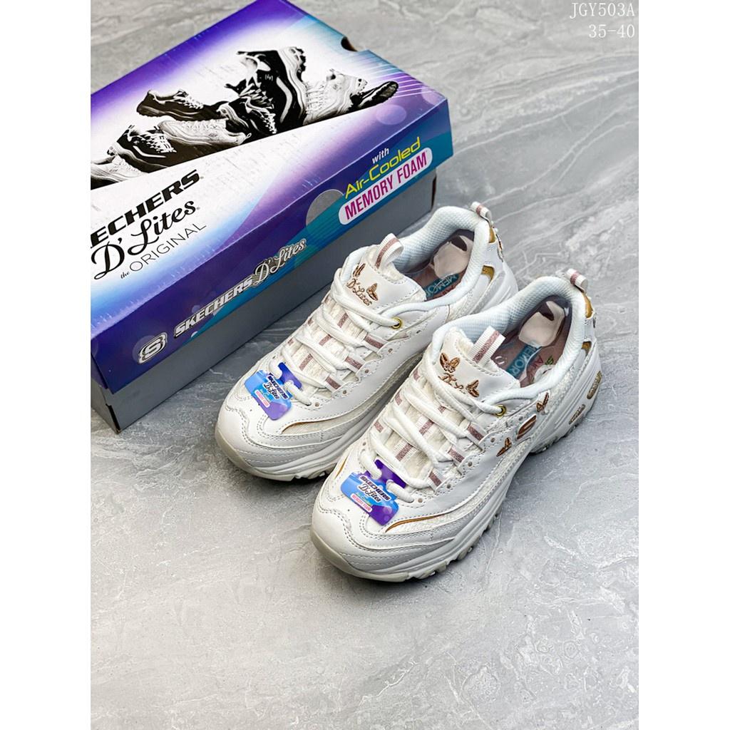 5IfO 復古厚底熊貓松糕斯凱奇鞋女鞋 時尚老爹女鞋新品刺繡蝴蝶鞋Skechers