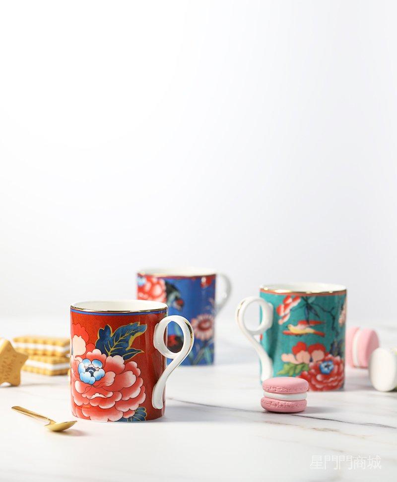 人氣新品現貨英國Wedgwood Paeonia嫣紅牡丹中國風骨瓷水杯茶杯子咖啡杯